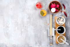 The most famous Korean traditional food Kimchi ingredients. Ingredients for cooking a famous Korean dish kimchi from radish with place under the text, top view Stock Photo