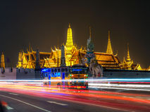 The most famous landmarks of the city that was built in 1782 Wat. Phra Kaew (Temple of the Emerald Buddha ), Church of the Royal evening Royalty Free Stock Photography