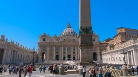 Most Famous Landmarks in the World, Vatican city square St. Peters Basilica in hyperlapse. Motion time lapse in square St. Peter`s Basilica, best historical stock video footage