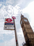 The most famous London landmark Big Ben with the unique London underground sign. LONDON, UNITED KINGDOM - APRIL 16, 2015: The most famous London landmark Big Ben Stock Photography