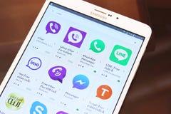 Most famous messenger applications on google play. List of top famous messenger applications on google play on samsung tab s2 like line, viber, skype,imo Stock Photos