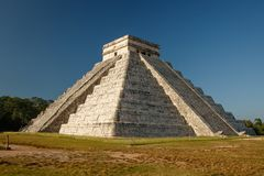 The most famous mexican pyramid from Mayan culture. Kukulkan Mayan Pyramid in Chitzen Itza historic place in Mexico, the most famous mayan ruin in Central royalty free stock photos