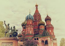 Most famous Russian Cathedral on the Red Square Stock Images