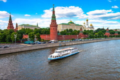 Most famous Russian landmark historical fortress Kremlin. This is the symbol of the Russian capita Royalty Free Stock Image