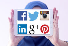 Most famous social media networks websites logos Stock Photography