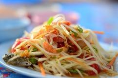 The most famous thai food. Papaya salad(somtam) with crab, the most famous thai food royalty free stock photos