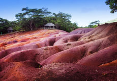 Most famous tourist place of Mauritius - earth of seven colors Stock Photo