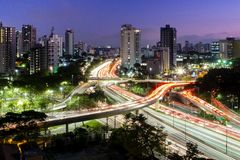 Most famous viaduct in the city of Sao Paulo, Brazil. stock photos