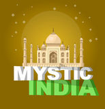 Most famous World landmark. Vector illustration of Taj Mahal Royalty Free Stock Images