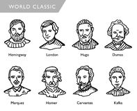 Famous world writers, vector portraits, Hemingway, London, Hugo, Dumas, Marquez, Homer, Cervantes, Kafka Royalty Free Stock Images