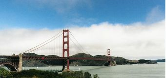 The most golden of gates. Golden Gate Bridge as viewed from the San Francisco, California side of the bridge stock photo
