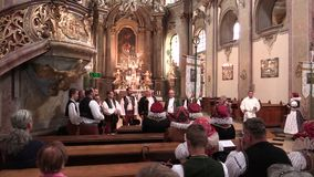 OLOMOUC, CZECH REPUBLIC, APRIL 15, 2018: Most Holy of the Body and Blood of the Christ the People`s Body is feast of. Most Holy of the Body and Blood of the stock footage