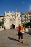 Most i łuk Santa Maria, Burgos Hiszpania Fotografia Stock