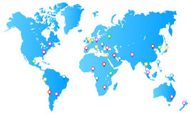 Most Important City Capitals. Map Pins On World Map Vector Illustration Royalty Free Stock Image
