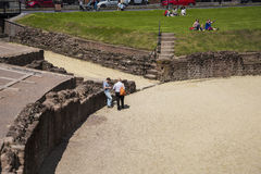 The most important Roman feature is the amphitheatre just outside the walls which is undergoing archaeological investigation Royalty Free Stock Photos