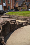 The most important Roman feature is the amphitheatre just outside the walls which is undergoing archaeological investigation Royalty Free Stock Photo