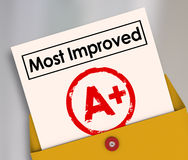 Most Improved Report Card Grade Score Increase Better Results. Most Improved words on a report card with grade or score A+ to illustrate a student or employee Stock Photography