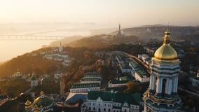 Most inetersting places of Kiyv Ukraine. Kiev Pechersk Lavra. Aerial drone video footage. View to rider Dnipro and The. Motherland Monument. Fog and sunrise stock footage