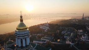 Most interesting places of Kiyv Ukraine. Kiev Pechersk Lavra. Aerial drone video footage. View to rider Dnipro and The. Most inetersting places of Kiyv Ukraine stock footage