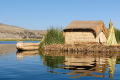 The most interesting places of South America, Floating islands Uros in Peru Stock Photos