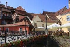 Most kłamstwa w średniowiecznym mieście Sibiu Hermannstadt, Rom obraz royalty free
