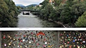 Most kochankowie w Mur rzece, Graz, Austria zdjęcie stock