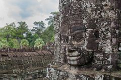 Khmer smile in Bayon temple Stock Images