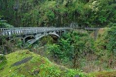 Most na drodze Hana, Maui, Hawaje Zdjęcie Royalty Free