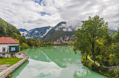 Most na soci town, Slovenia. Most na soci town with river Soca, Slovenia Stock Images