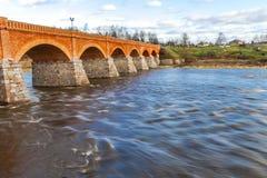Most na Venta rzece, Kuldiga, Latvia. Obraz Royalty Free