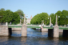 Most nad Fontanka rzeką Fotografia Stock