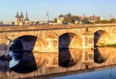 Most nad Loire w Blois, Francja Zdjęcie Stock