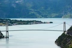 Most nad Lysefjord, blisko Forsand wioski, Rogaland okręg administracyjny, Norwegia Obraz Stock