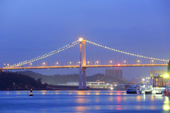 Most nad morzem przy nocą w Xiamen Obrazy Royalty Free