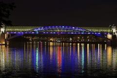 Most nad Moskwa rzeką przy nocą Zdjęcie Stock