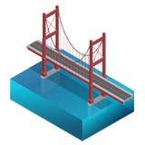 Most nad rzeką, projekt, jednostki struktura Bridżowa budowa Wektorowa mieszkania 3d isometric ilustracja Obraz Stock