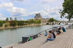 Most nad wonton rzeką, Paryż Obraz Royalty Free