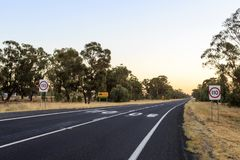 New South Wales – Speed Limit. Most New South Wales highways have a speed limit of 110 km/h Stock Photo