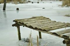 Most od drzewa nad zima Zdjęcie Stock