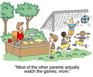 Most of the other moms watch the games Royalty Free Stock Images
