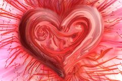 Most passionate heart. Red heart painted in a totally organic manner symbolizing the innermost passion of human spirit Stock Image