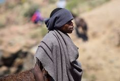 A Besotho shepherd in Lesotho. Most people in the mountains of Lesotho are shepherds as this man Stock Photos