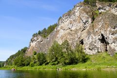 The most picturesque river AI. Bashkiria. Ural. Magnificent cliffs, green forest and river inspire. Beauty of Russian nature. Landscapes Of The Urals. All this royalty free stock photography