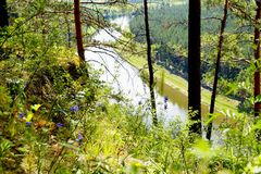 The most picturesque river AI. Bashkiria. Ural. Magnificent cliffs, green forest and river inspire. Beauty of Russian nature. Landscapes Of The Urals. All this stock images