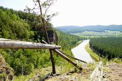 The most picturesque river AI. Bashkiria. Ural. Magnificent cliffs, green forest and river inspire. Beauty of Russian nature. Landscapes Of The Urals. All this royalty free stock photos