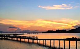 Most pod złotym światłem zdjęcie royalty free