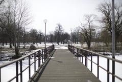 Most Podczas zimy przy belle wyspą fotografia royalty free