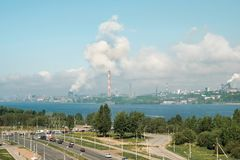 The most polluted city in Russia is Cherepovets. Smoke from the pipes smog clouds over the city. View from the height stock image