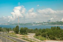 The most polluted city in Russia is Cherepovets. Smoke from the pipes smog clouds over the city. View from the height stock images