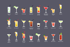 Most popular alcoholic cocktails part 2, icons set in flat style on dark background royalty free illustration
